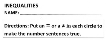 Math Worksheet: ADDITION Problems, Equal and Not Equal - P