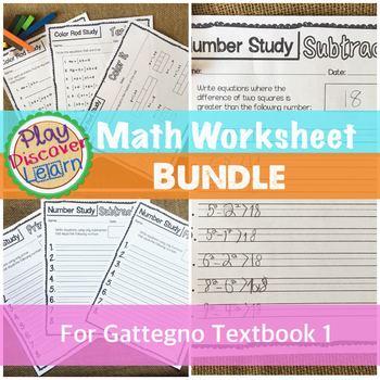 Math Worksheet Bundle for Gattegno