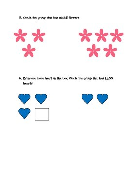 Math Worksheet. Concept of  More and Less