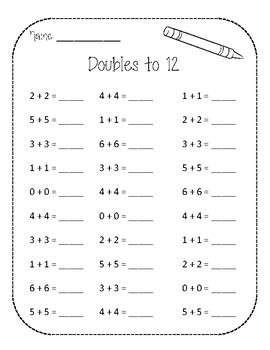 Math Worksheet - Doubles from 10 - 18