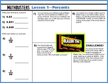 Math Worksheet - Intro to Percentages