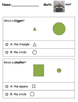 Math Worksheet: Size? with ASL support