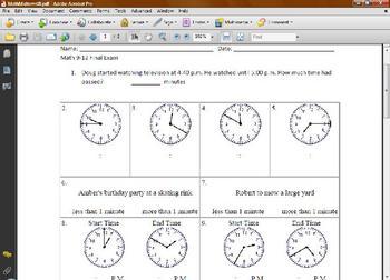 Math Worksheet - Time/Money