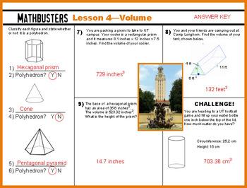 Math Worksheet - Volume Formulas