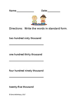 Math Worksheet - Word Form to Standard Form