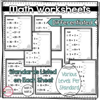 Math Worksheets 1.NBT.5    1.NBT.6   1.NBT.4