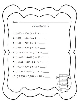 Back to School Math Printables! 100 worksheets! GRADES 4 - 6