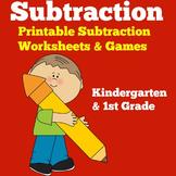 Subtraction Worksheets | Kindergarten 1st Grade |  Subtrac