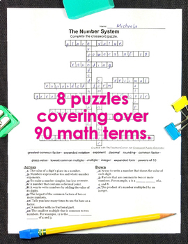 4th & 5th Grade Math Vocabulary Crossword Puzzles