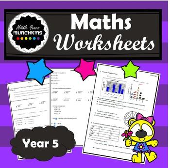 Math Worksheets (Adding un/like fractions, division, BOMDAS, Data)