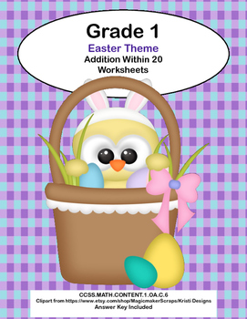 Math Worksheets Addition to 20 -Easter Theme -CCSS.MATH.CO