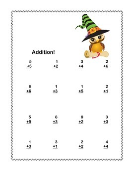 Math Worksheets Addition to 20 Practice -Halloween -CCSS.MATH.CONTENT.1.OA.C.6