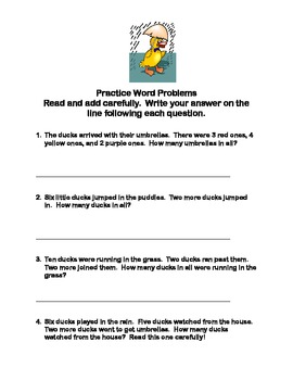 Math Worksheets Addition to 20 Practice Including Word Problems Spring Theme