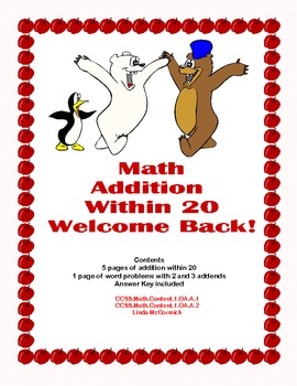 Math Worksheets Addition to 20 Practice Plus Word Problems -Back to School