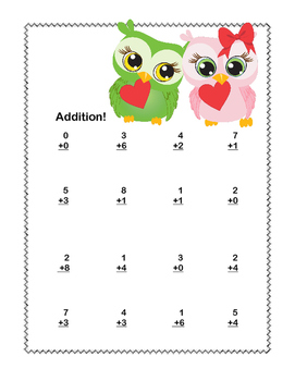 Math Worksheets Addition to 20 -Valentine's Day -CCSS.MATH.CONTENT.1.OA.C.6