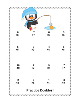 Math Worksheets Addition to 20 Practice -Winter -CCSS.MATH.CONTENT.1.OA.C.6