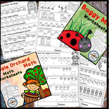 Math Worksheets, Ocean, Farm, Garden, Apples and Bugs Math Bundle