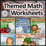 Math Worksheets Bundle, Ocean, Bugs, Apples, Farm, Garden