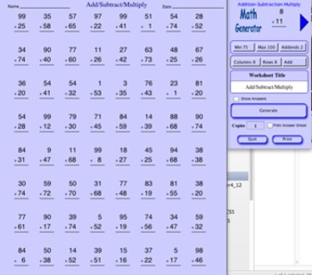 Math Worksheets Generator for Windows by George Wood