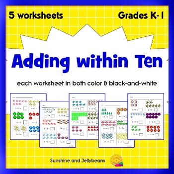 math worksheets grade k or   easy addition   ccss  color  originaljpg