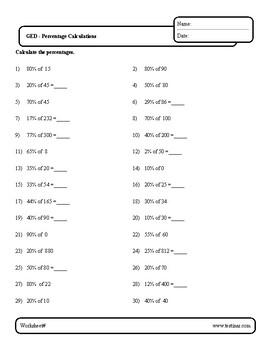 Math Worksheets - Percent
