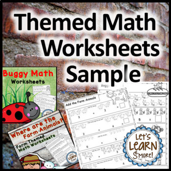 Math Worksheets Sample for Kindergarten, Preschool or First Grade