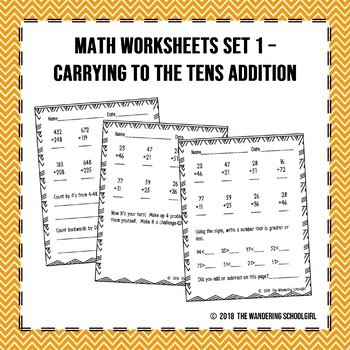 Math Worksheets Set 1 - Carrying to the Tens Place