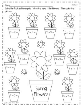 Math Worksheets - Spring Flowers