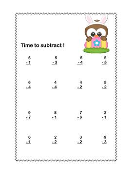 Math Worksheets-Subtraction -CCSS.MATH.CONTENT.1.OA.C.6-Easter