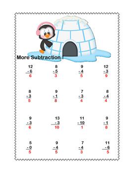 Math Worksheets-Subtraction -CCSS.MATH.CONTENT.1.OA.C.6-Winter