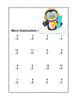 Math Worksheets-Subtraction -CCSS.MATH.CONTENT.1.OA.C.6-Winter