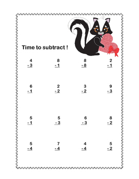 Math Worksheets-Subtraction -CCSS.MATH.CONTENT.1.OA.C.6-Valentine's