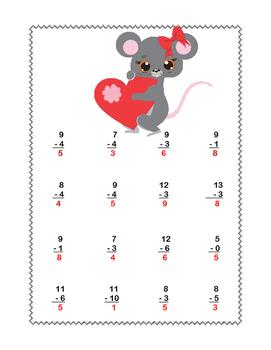 Math Worksheets-Subtraction -CCSS.MATH.CONTENT.1.OA.C.6-Valentine's