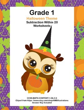Subtraction Within 20 -Halloween -CCSS.MATH.CONTENT.1.OA.C.6-Math Worksheets