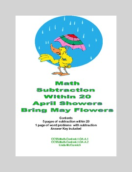 Math Worksheets Subtraction to 20 Practice Including Word Problems Spring Theme