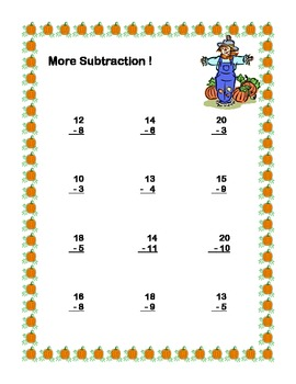 Math Worksheets Subtraction to 20 Practice Plus Word Problems-Fall Theme