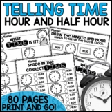 Math Worksheets Telling Time | Hour and Half Hour