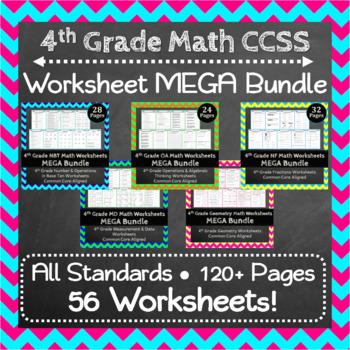 Math Worksheets ULTIMATE Bundle: ALL Common Core Standards Grades 1-5 Worksheets