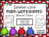 First Grade Math Worksheets - Common Core - Monster Theme