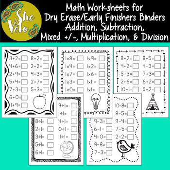 Math Worksheets for Dry Erase Pockets, Early Finishers Binders, Morning Work