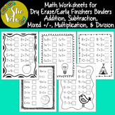 Math Worksheets for Dry Erase Pockets, Early Finishers Bin