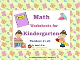 Math Worksheets for Kindergarten: Number 11-20