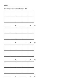 Math Worksheets for Kindergarten (addition, subtraction, fewer, ten frames)