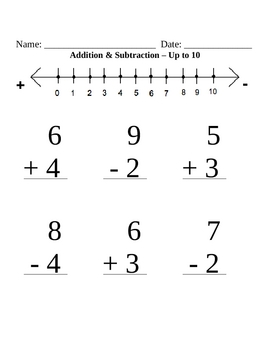 Math Worksheets up to 10
