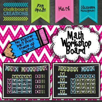 Math Workshop Board (Blue, Green, and Pink Chevron and Chalkboard)