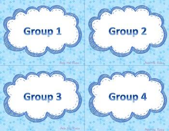 Math Workshop Bulletin Board - Blue Flowers