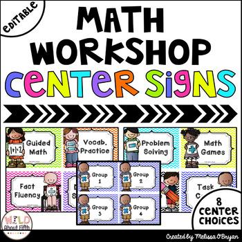 Math Workshop Center Signs - Chevron