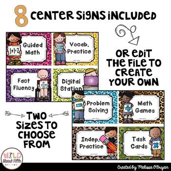 Math Workshop Center Signs - Jungle/Animal Print