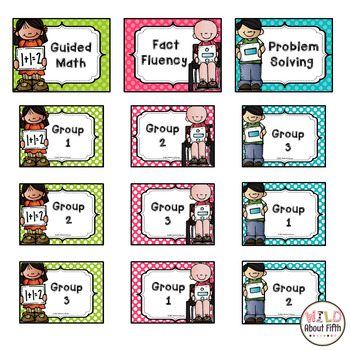 Math Workshop Center Signs - Polka Dot