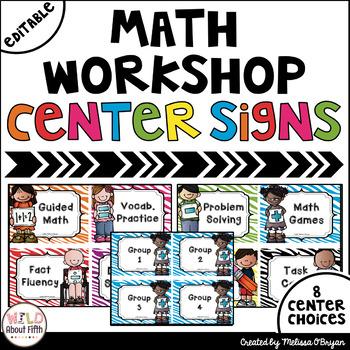 Math Workshop Center Signs - Zebra